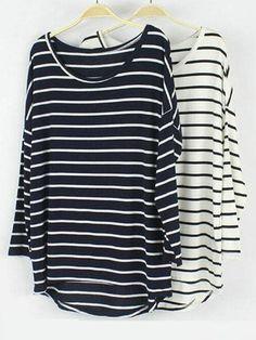 Batwing Sleeve Stripe T-shirt Fashion Bottoming Shirt