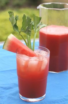 Watermelon Bloody Marys-This not-just-for-brunch cocktail gets a light sweetness from watermelon juice. Freshly ground celery seeds add complexity, while dashes of Worcestershire and Tabasco sauces give it a kick. Easy Cocktails, Classic Cocktails, Summer Cocktails, Fun Drinks, Cocktail Recipes, Cocktail List, Alcoholic Beverages, Drink Recipes, Watermelon Soup