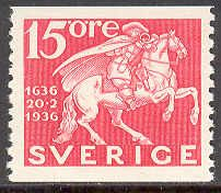 "Sweden [Facit 248A, Scott 253 xx], 1936 ""Postverket 300 år"" 15 öre red, perforated on two sides. (from coils)"