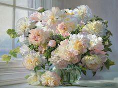 Beautiful Flower Arrangements, Beautiful Flowers, Oil Painting Flowers, Flower Paintings, Flower Art, Art Flowers, Impressionist Paintings, White Flowers, Peonies