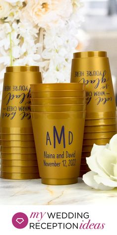 Gold Wedding Cups - Add a splash of gold to your gold color themed wedding reception bar, drink station or reception tables with custom printed frosted cold cups personalized with a design or monogram and a message from the newlyweds. Guests can take their reusable cups home as wedding souvenirs. #goldwedding #wedding cups