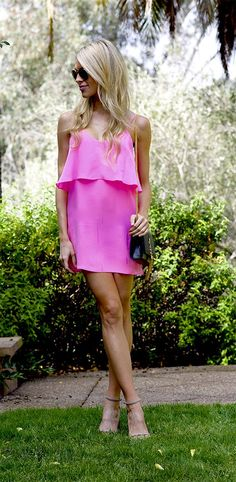 stylish spring outfits - hot pink dress blawnde