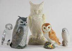 "(lot of 5) Owl figural group, 20th Century, consisting of examples by Royal Copenhagen, Belleek, Baccarat, and Beswick, largest: 8""h"