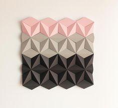 Paper Wall Decoration, Wall Decoration, Origami Wall Art, Wall Decor, Shop Display - Moduuli Square Pink Beige Black