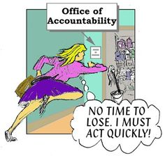"""PhRMA Intern rushes to the """"Office of Accountability"""" at PhRMA headquarters to change into her costume."""