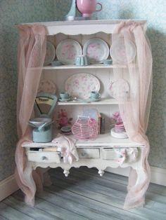 Shabby Doll House | Dolls house miniature shabby chic kitchen dresser