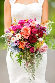 Bohemian Wedding at the Sunshine Coast, Queensland Colorful bohemian wedding in sunny Australia, just look at this bouquet!Colorful bohemian wedding in sunny Australia, just look at this bouquet! Summer Wedding Bouquets, Floral Wedding, Trendy Wedding, Wedding Summer, Wedding Dresses, Purple Wedding, Colourful Wedding Flowers, Outdoor Wedding Flowers, Boho Wedding Bouquet