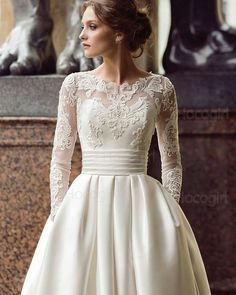 Wedding Gown With Pockets Small - discount modest long sleeve wedding dresses with pockets scoop satin appliqued a line 2019 bridal gown turkey vestidos de novia white bridal wedding Wedding Dresses Under 100, How To Dress For A Wedding, Wedding Dress With Pockets, V Neck Wedding Dress, Wedding Dress Trends, Long Sleeve Wedding, Modest Wedding Dresses, Bridal Dresses, Elegant Dresses