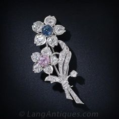 Pink Sapphire and Blue Sapphire Diamond Floral Brooch