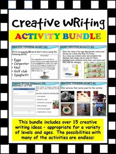 Maybe you are looking to start your own creative writing unit? Or, perhaps you are looking to add to your current repertoire? The following bundle includes a total of 15 differentiated lesson activities that can be incorporated into a variety of grade levels. Students enjoy the variety of the activities as the variation of lessons focus on different elements.