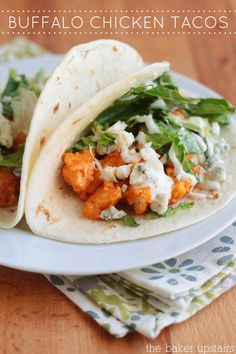 Buffalo chicken tacos - ready in under thirty minutes and so delicious! www.thebakerupstairs.com