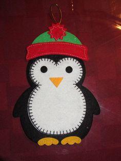 Large Flat Stiff Felt Penguin in hat Holiday Christmas Ornament