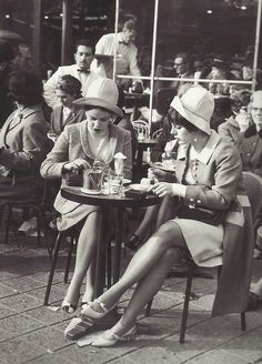 Paris Cafe Scene: 1960: Two ladies at a cafe on the Champs-Elysees, Paris