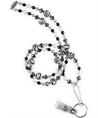 Nurse Mates Black/White Zebra Beaded Lanyard Style #  LO920905