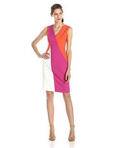 03dbb579 Anne Klein Women's All Angles Color Block Sheath Dress, Orange, 12 Anne  Klein http