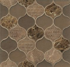 Bedrosians - Panache Rain Drop - Leather Blend - Arabesque Lantern Shape Glass & Stone Mosaic Tile - Textured Pattern Finish