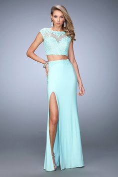 2016 Embroidered Top Light Mint La Femme 21867 Two Piece Prom Dresses