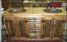Photo of Two Hammered Copper Sinks  and Price Pfister Ashfield Faucet - Rustic Bathroom Vanity: Log Cabin Rustic Vanity with Hammered Copper Sink & Price Pfister Ashfield Rustic Bronze Faucet