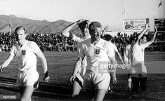 World Cup Finals, Rancagua, Chile. June, England 3 v Argentina England's Bobby Moore, Maurice Norman Ron Flowers and Johnny Haynes leave the pitch after defeating Argentina. Bobby Moore, Italy World Cup, Argentina World Cup, Bobby Robson, Larry Holmes, Jimmy Greaves, Tony Scott, Wigan Athletic, Michael Owen