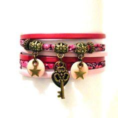 Bracelet cuir tissu liberty clé cadenas double tours