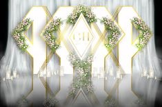 White champagne geometric wedding pre function area renderings Wedding Altars, Rustic Wedding, Stage Decorations, Wedding Decorations, Wedding Stage Backdrop, Wedding Backdrops, Booth Decor, Rustic Backdrop, Geometric Wedding