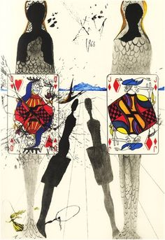 Alice in Wonderland by Salvador Dali, 1969 This scene depicts the Queen of Hearts's Croquet Ground.