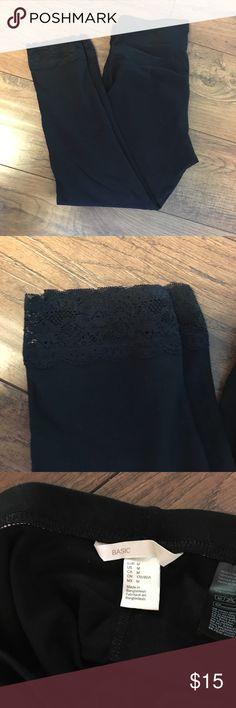 Black H&M Leggings Cute black leggings. Lace cuff. Never been worn. H&M Pants Leggings