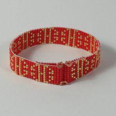 SALE Japanese Good Luck Bead Loom Bracelet Red Gold by PuebloAndCo