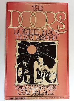 THE DOORS ELVIN BISHOP 1969 San Francisco Cow Palace Concert Poster 1st Pressing