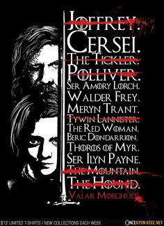 Game of Thrones - updated Arya&;s kill list Game of Thrones - updated Arya&;s kill list Game Frases Game Of Thrones, Arte Game Of Thrones, Game Of Thrones Arya, Game Of Thrones Shirts, Game Of Thrones Sayings, Game Of Thrones Decor, Winter Is Here, Winter Is Coming, Arya Stark List