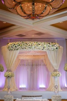 Wedding Ceremony: pink and purple Suhaag Garden, Florida wedding decorator, indoor mandap Simple Chandelier, Elegant Chandeliers, Wedding Stage Decorations, Wedding Centerpieces, Gazebo Decorations, Decor Wedding, Drapery Styles, Simple Elegant Wedding, Trendy Wedding
