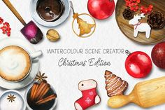 Watercolour Christmas Scene Creator by adrika.illustration on @creativemarket