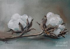 Cotton Art Print featuring the painting Cotton Bolls by Kristine Kainer Cotton Painting, Wood Painting Art, Autumn Painting, Fabric Painting, Cotton Bolls, Farmhouse Paintings, Cotton Blossom, Pictures To Paint, New Art