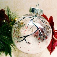 Snowy Berry Branch Clear Sparkle Ornament - Hand Painted in USA (snow decorations glass ornaments) Painted Christmas Ornaments, Hand Painted Ornaments, Diy Christmas Ornaments, Homemade Christmas, Christmas Art, Christmas Decorations, Glitter Ornaments, Handmade Ornaments, Beaded Ornaments