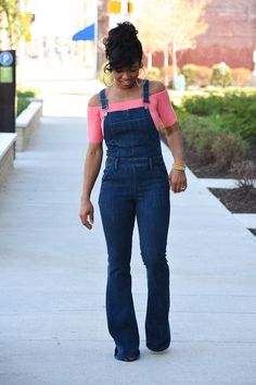 Sweenee Style, Spring Outift Idea, Express Dark Blue Denim Flare Overalls, Off the shoulder top