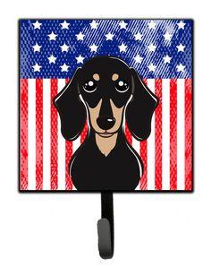 American Flag and Smooth Black and Tan Dachshund Leash or Key Holder BB2145SH4