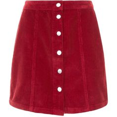 Burgundy Button Front Corduroy Mini Skirt (48 PEN) ❤ liked on Polyvore featuring skirts, mini skirts, red corduroy skirt, burgundy corduroy skirt, red short skirt and red mini skirt