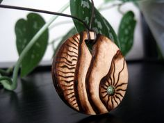 Wooden Necklace - Sand Dunes, Wooden Pendant, Pyrography Necklace, Earthy, Organic, Outdoorsy