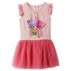 Girls 4-7 Shopkins Rainbow Bite, Creamy Cookie Cupcake & D'lish Donut Jersey Dress, Size: 6, Orange
