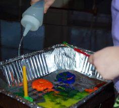 Vinegar + Baking Soda + Paint + Squirt Bottles = Two Very Happy Kids