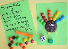 Turkey Roll (roll dice, add, and look at the key to what color M so add to make feathers--can use leftover Halloween candy for feathers)