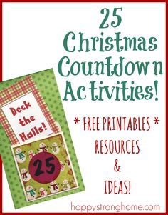 25 Christmas Countdown Ideas Printable - great for Advent calendars or just family Christmas fun with children!