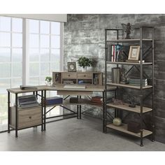Griffeth Corner Desk/ Hutch/ File Cabinet with 72-inch Bookcase