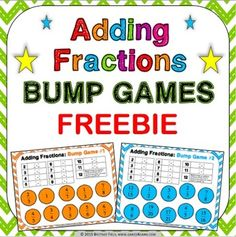 Adding Fractions: Adding fractions bump games FREE contains 2 different adding fractions bump games to help students practice adding fractions with like and unlike denominators.   These bump games are so simple to use, and take a minimal amount of prep. Simply print out the game sheet, get 2 dice, and 20 counters, and you'll be ready to go!