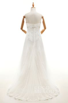 Sheath-Column  Tulle and Lace Ivory Sleeveless Wedding Dress with Appliques and Beading H1OTLT0006 #weddingdresses #cocomelody #backinterestdresses #customdresses