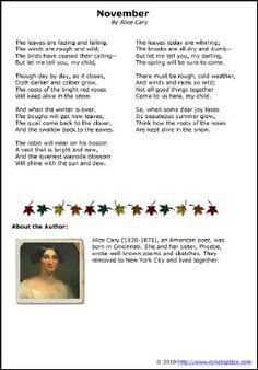 Alice Cary's Poem November | Cynce's Place