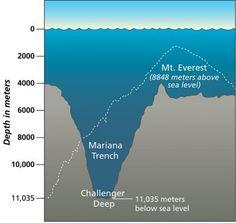 Fosa de las Marianas. Se trata de un abismo dentro la fosa, y constituye el punto más profundo de la fosa (y de la Tierra). De acuerdo a la nueva medición, la profundidad del abismo es de 10.994 metros, con un margen de error de 40 metros. Esta profundidad es mayor que la altura del Monte Everest.