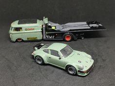 Custom Hot Wheels  VW Van Car Carrier Conversion w/matching Porsche 911