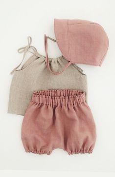Pretty Handmade Linen Bloomers, Top & Bonnet | moonroomkids on Etsy