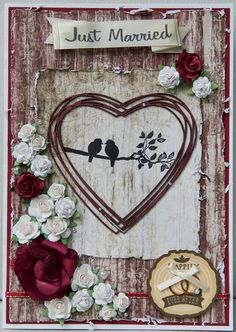 Wedding Card 2017: papers are from the Heartfelt Creations Timeless Amour pack.  The birds are a diy Invitations rubber stamp.  Just Married is by Making Memories.  The heart is a 2Crafty embellishment, which I coloured with ProMarkers.  The wooden ring holder is by Jolee's.